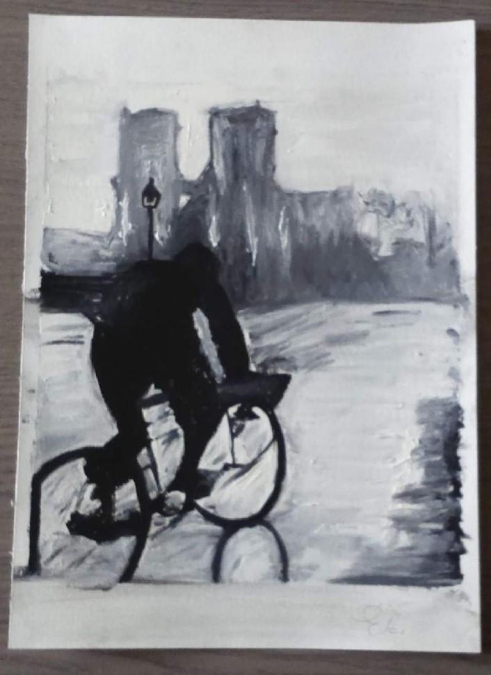 schilderen met olieverf - fietser
